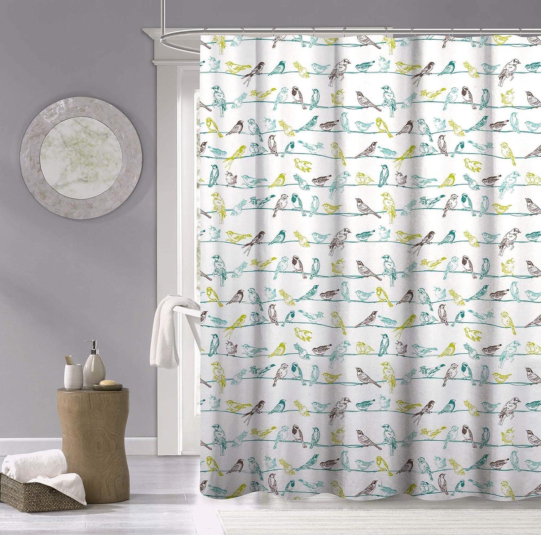 Dainty Home discount Birds Surprise price 100% Cotton Shower Fabric Multicolor Curtain