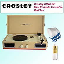 Crosley CR40-RE Mini Portable Turntable Red/Tan + Spin Clean WDC5 Dry Cloths Washable 5 Pack + Spin Clean Washer Fluid 16 Oz