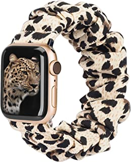 TOYOUTHS Compatible with Apple Watch Band Scrunchies 38mm Cloth Soft Pattern Printed Fabric Wristband Bracelet Women Rose ...