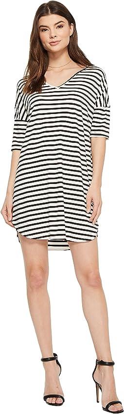American Rose Hartley Striped V-Neck Dress