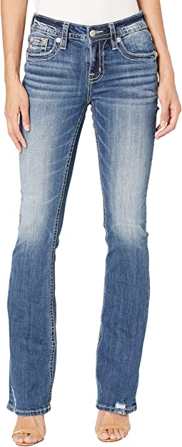 Peacock Feather Pocket Bootcut in Medium Blue