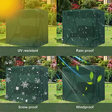 M/B 2-Seater Garden Swing Seat Cover, Waterproof Windproof Anti-UV Heavy Duty Outdoor Garden Hammock Cover with Zips, Garden