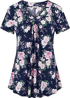 Kissmay Womens Plus Size Tops Summer Short Sleeve Shirts Loose V Neck Dressy Blouses