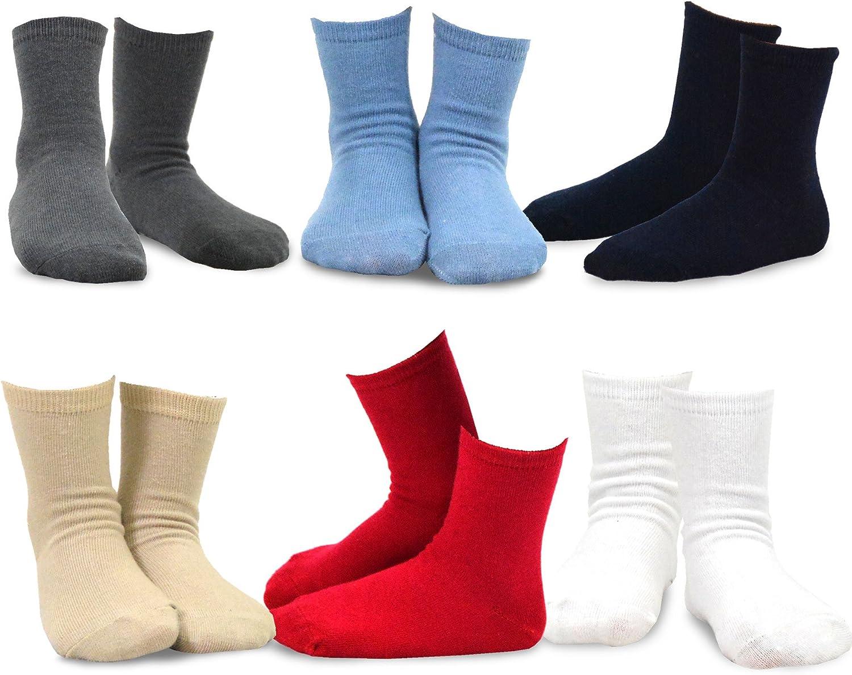 TeeHee Little Boys Basic Cotton Crew Socks 6 Pair Pack (18-24 Months, Solid)