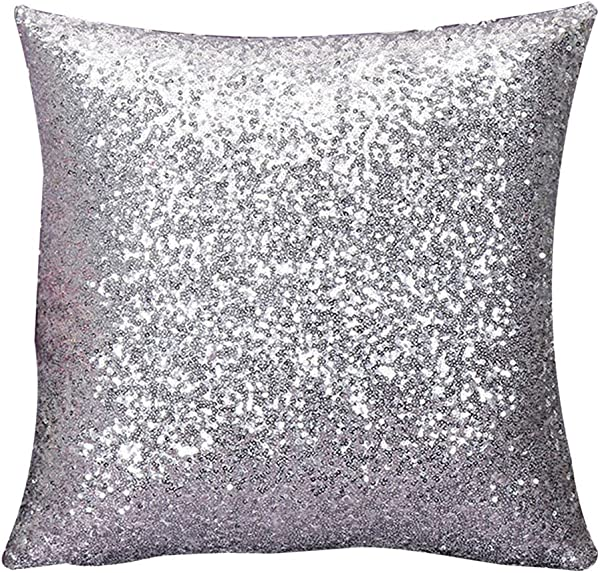 IRENE Home Decor Cushion Covers Solid Color Silver Glitter Sequins Throw Pillow Case Cafe Silver