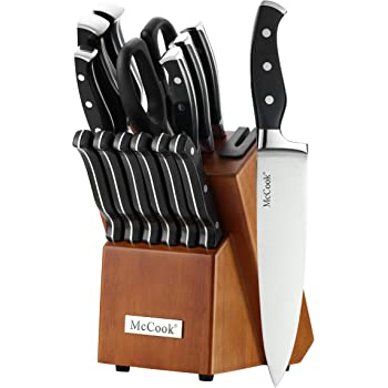 McCook MC23 14 Pieces High Carbon Stainless Steel kitchen knife set with Wooden Block, All-purpose Kitchen Scissors and Built-in Sharpener(Cherry Block)