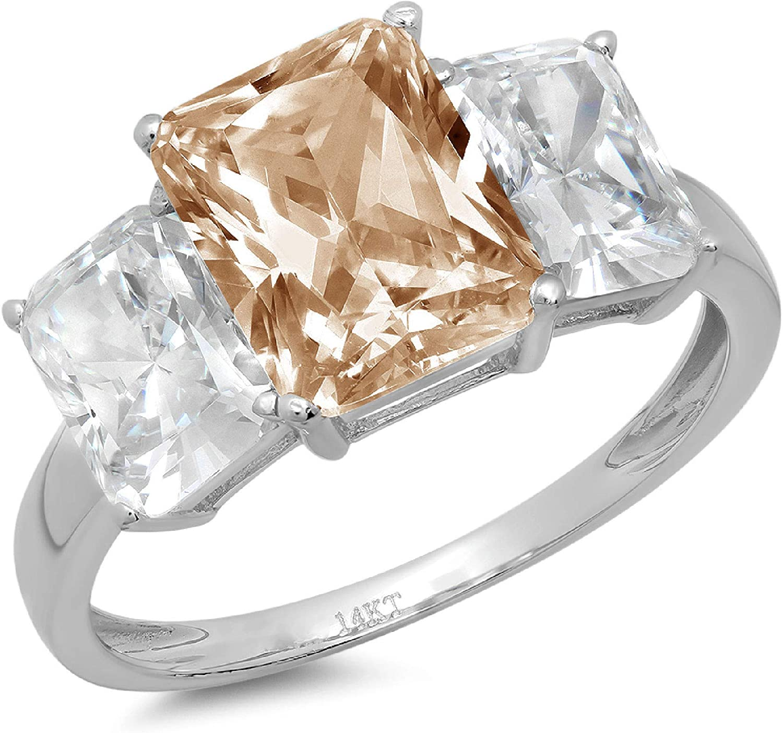 Clara Pucci 4.1 OFFicial site ct Popular standard Brilliant Emerald Accen 3 Solitaire Stone Cut