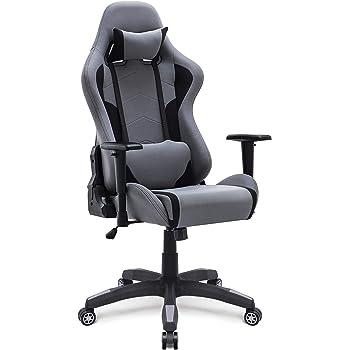 IntimaTe WM Heart Fauteuil Gaming en Tissu, Racing Chaise de Bureau Ergonomique,Siège Pivotant (gris1)