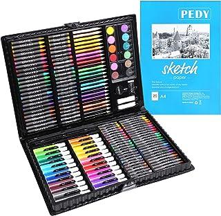 pedy Malette Dessin 164 PCS, Crayons de Couleur, Set de Dessin Enfant,Set de Peinture Comprend Pastels à l'huile, Mini Cra...