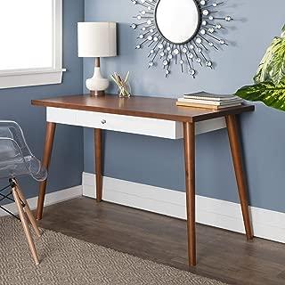 WE Furniture Mid Century Modern Wood Computer Desk, 48 Inch, Brown, White