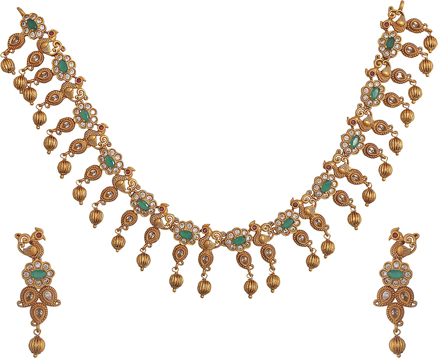 Tarinika Traditional CZ Gold-Plated Indian Necklace Set - White Red Green -- For Women and Girls