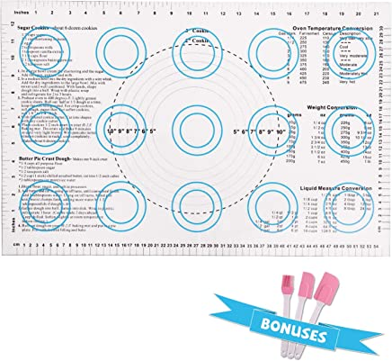 """Silicone Baking Mat Set of 4, BEAUTLOHAS. 23""""x15.2"""" Large Non-Stick Non-Slip Dough Mat, Reusable Silicone Pastry Mat with Measurements, Non-Toxic, BPA Free, FDA Approve Pizza Mat for Housewife (Blue)"""