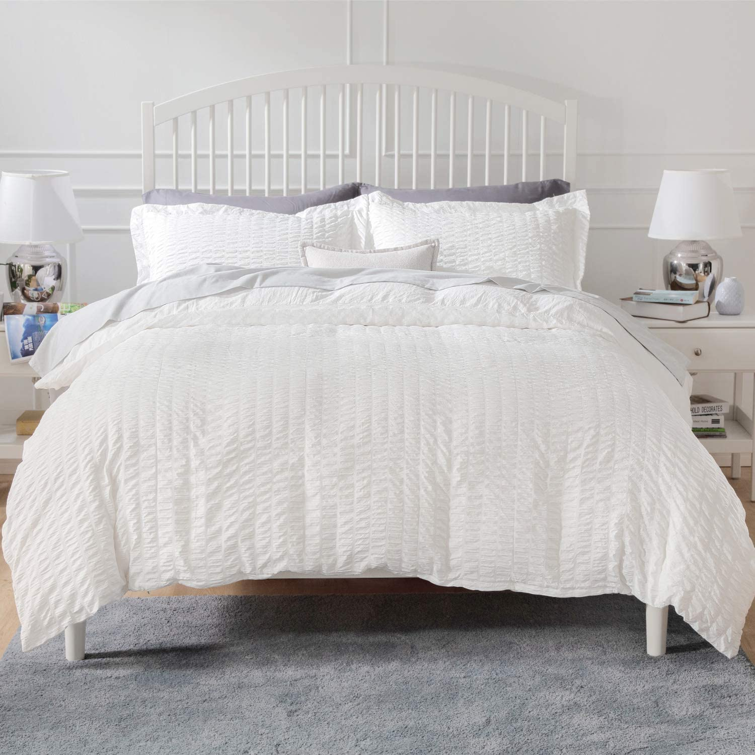 Bedsure White Textured Duvet Cover Queen Size - Seersucker Stripe Comforter Cover with Zipper Closure 3 Pieces (1 Duvet Cover + 2 Pillow Shams, 90 x 90 inches) : Home & Kitchen