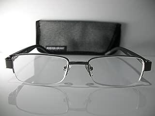 Foster Grant Wilder Gunmetal Half-Frame Carbon Fiber Reading Glasses w/Case +2.50 Free Hard CASE + Microfiber Cloth