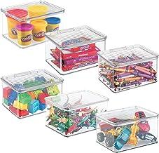 mDesign Bac à jouet pratique – box de rangement jouet avec couvercle pour ranger des jouets sur une étagère ou sous le lit...