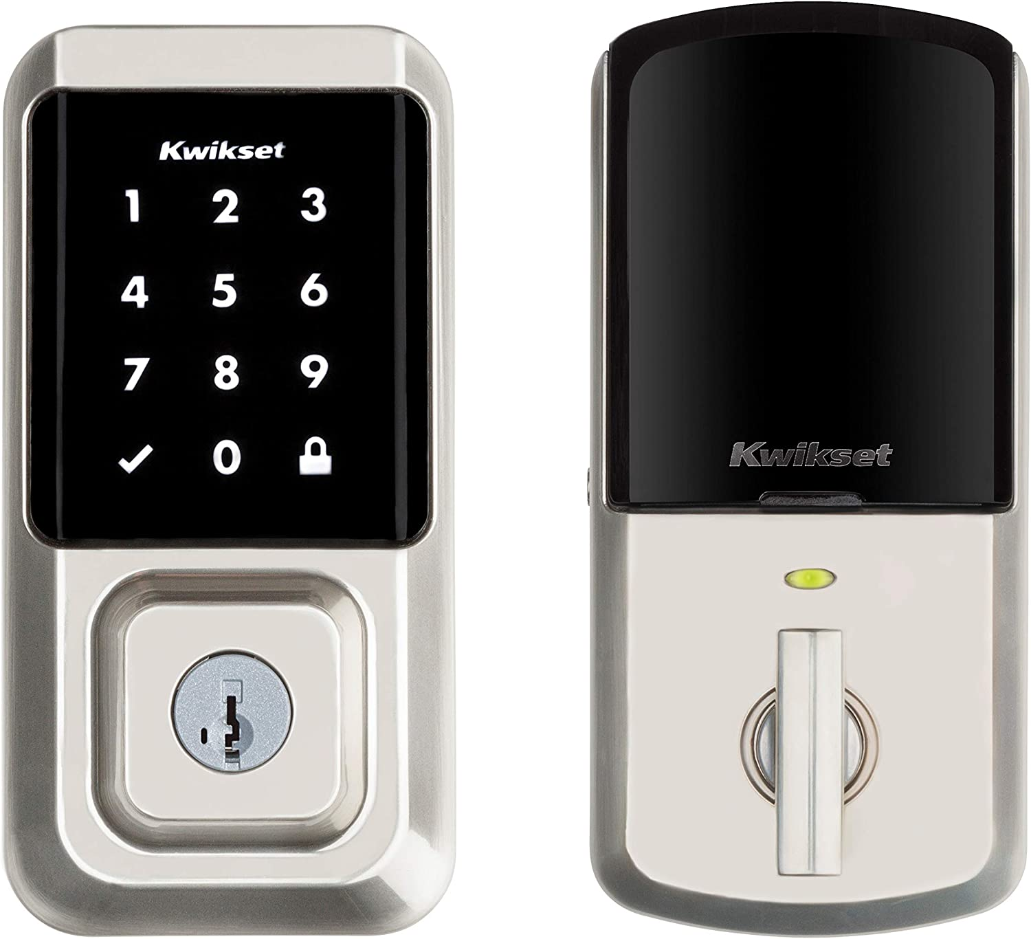 Polished Chrome Kwikset 99390-003 Halo Wi-Fi Smart Lock Keyless Entry Electronic Touchscreen Deadbolt Featuring SmartKey Security
