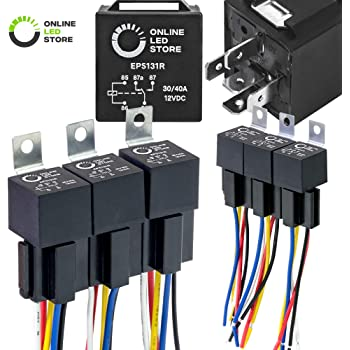 Amazon Com Online Led Store 6 Pack Bosch Style 5 Pin 12v Relay Kit Interlocking Harness Socket Holder 14 Awg Hot Wires Spdt 30 40 Amp 12 Volt Automotive Relays For Auto Fan Cars Automotive