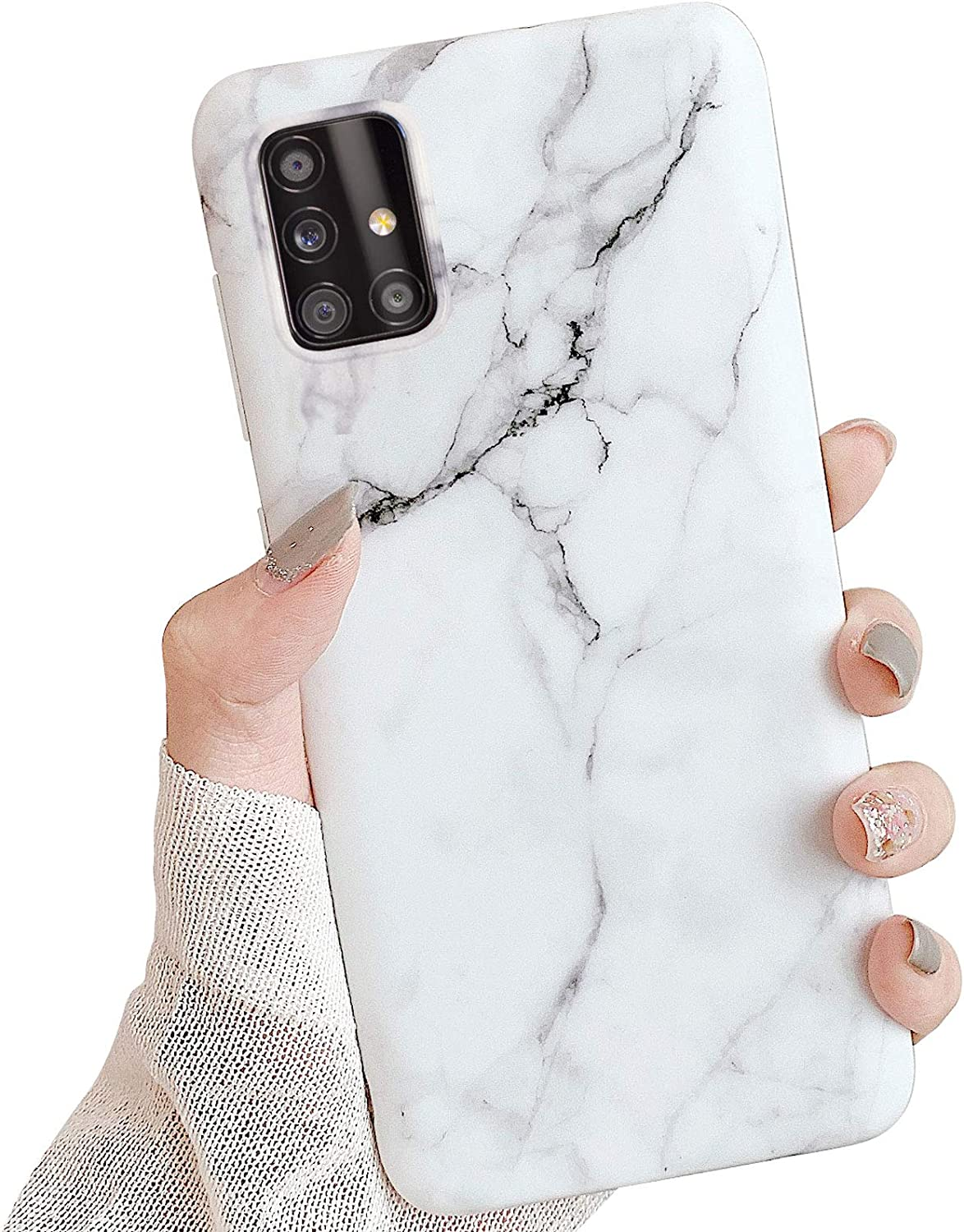 ooooops Cool Phone Case for Samsung Galaxy A51 5G [Non A51 4G], White&Black Marble Pattern Design, Slim Soft Clear Bumper Full-Body Protective Cover Case for Samsung GalaxyA51 5G 6.5'' (White Marble)