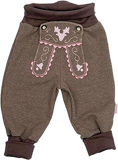 P.Eisenherz Baby Jogginghose Lederhosen Look, Rosa, 100% Baumwolle, Erstausstattung Size 86