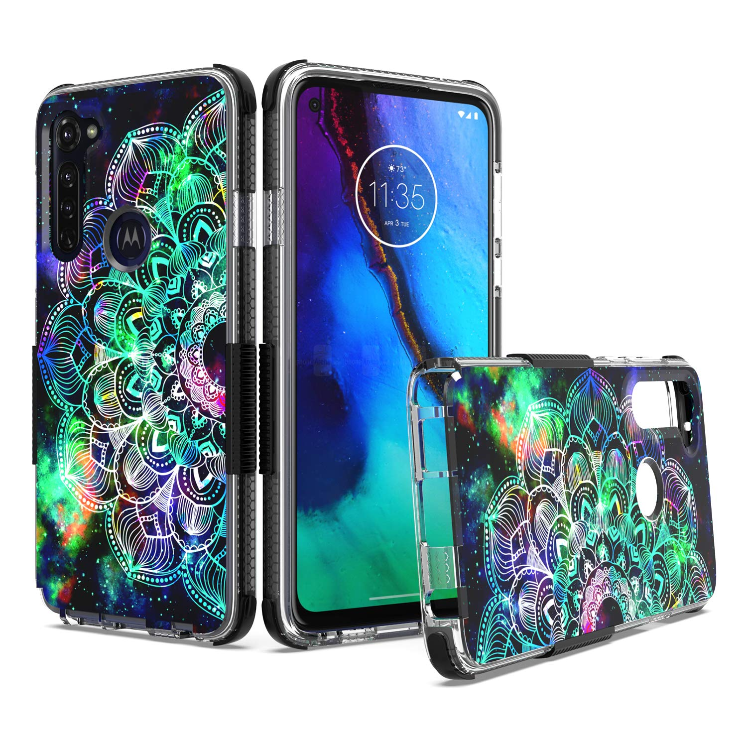 Soft Clear TPU Case with 3D Printed Mandala Galaxy Hybrid Case Shockproof Bumper Cover UNC Pro Cell Phone Case for Motorola Moto G-Stylus