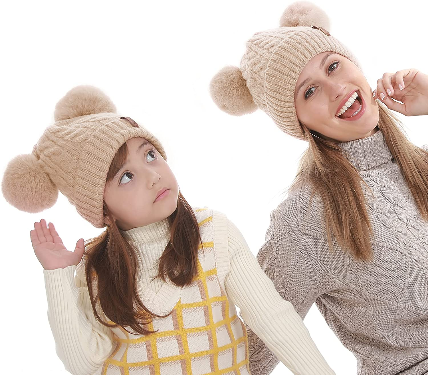 Mom and Baby Matching Hats Women Kids Winter Knit Beanies with Faux Fur Double Pom Pom, Mommy and Me Parent-Child Cute Warm Soft Beige Fleece Knitted Cap for Boys Girls Mother Daughter Son: Clothing, Shoes & Jewelry