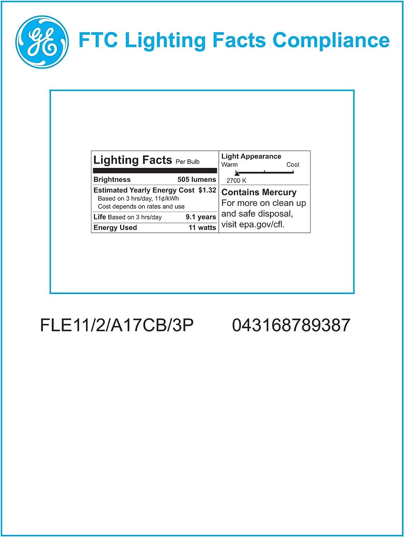 1-Pack GE Lighting 78937 Energy Smart CFL 11-Watt 505-Lumen A17 Light Bulb with Candelabra Base 40-watt replacement
