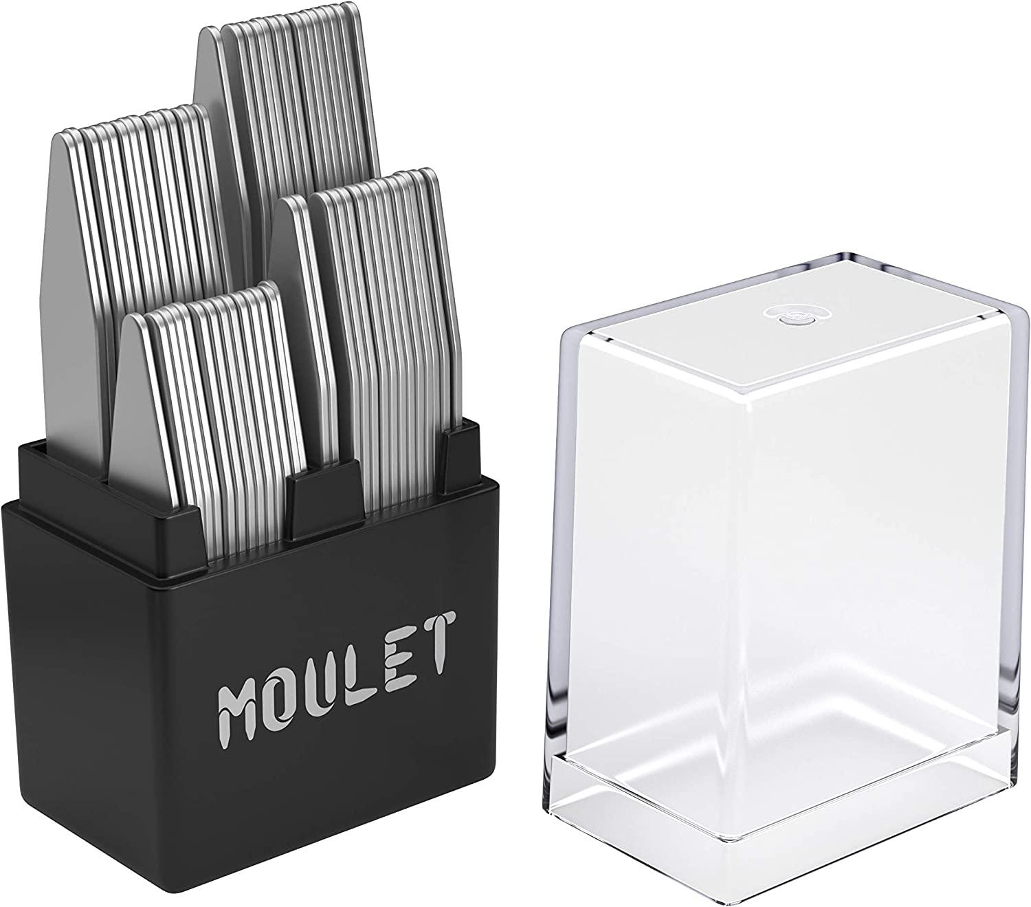 56 Metal Collar Stays for Men in a Divided Box - 4 Sizes by Moulet