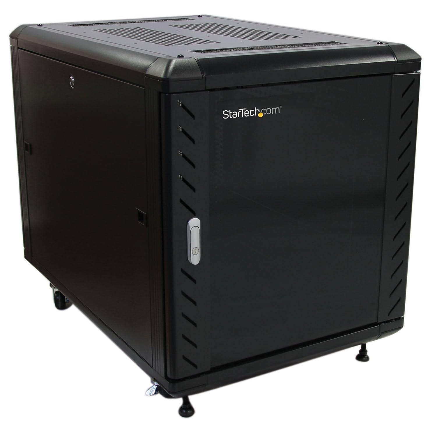 StarTech.com 12U AV Rack Cabinet - Network Rack with Glass Door - 19 inch Computer Cabinet for Server Room or Office (RK1236BKF)
