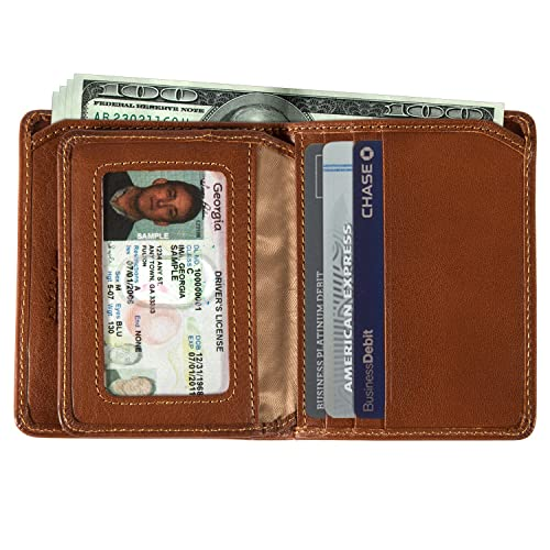 Mens Leather Bifold Passcase Flap Wallet with ID Window Vertical Front Pocket Multi Card Holder Slots