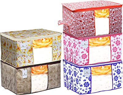 Kuber Industries Flower & Leaf Printed 5 Piece Non Woven Fabric Underbed Storage Bag,Cloth Organiser,Blanket Cover with Transparent Window, Pink & Blue & Ivory Red & Golden Brown & Red -CTKTC41127