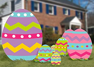 amscan Multicolored Easter Eggs Corrugated Signs, 5 Ct. | Party Decoration