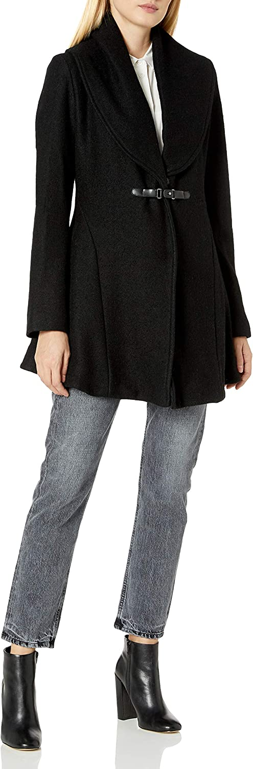 kensie Choice Women's Denver Mall Boiled Wool Skirted with Collar Coat Shawl