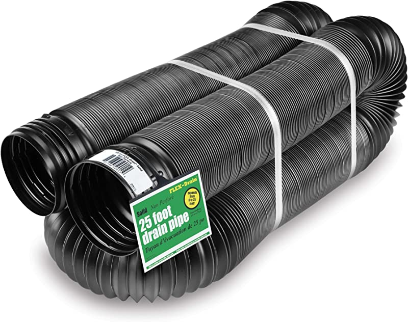 Flex Drain 51110 Flexible Expandable Landscaping Drain Pipe Solid 4 Inch By 25 Feet