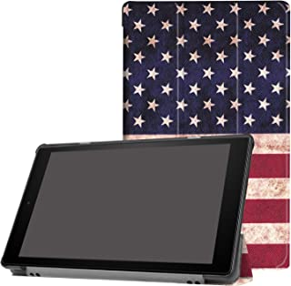 Case for Fire HD 10 Tablet,Kindle Fire HD 10 Case 2017, Povinmos Premium PU Leather Smart Case and Back Cover Flip Folio Case for Amazon Fire HD10 Tablet, US Flag