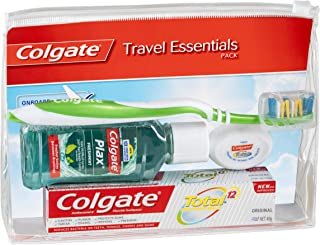 Colgate Travel Essentials Kit, Toothbrush, Toothpaste, Mouthwash, Floss and Travel Bag Pack