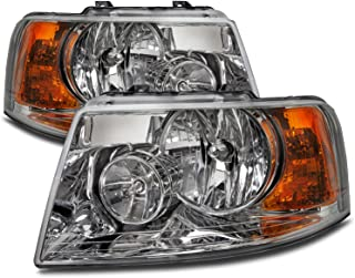 HEADLIGHTSDEPOT Chrome Housing Halogen Left and Right Headlights Pair Compatible With Holiday Rambler Vacationer 2009-2010 Motorhome RV