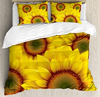 Ambesonne Yellow Duvet Cover Set Queen Size, Cute Sunflower Field as Summer Background Happiness Colorful Nature Art Print, Decorative 3 Piece Bedding Set with 2 Pillow Shams, Orange Yellow