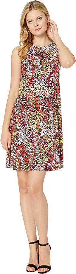 Printed Ity Sleeveless Crew Neck Trapeze Dress