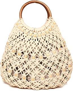 ASTRID Women's Natural Macrame Beige Bag with Wooden Handle with Freebie Watermelon Beaded Coin Purse