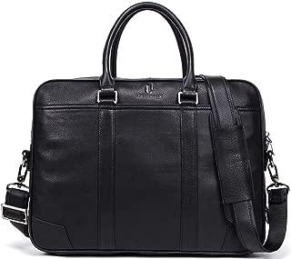 15.6 Inch Vintage Luxury Cowhide Leather Multi-Function Waterproof Laptop Briefcase Shoulder Bag for Men