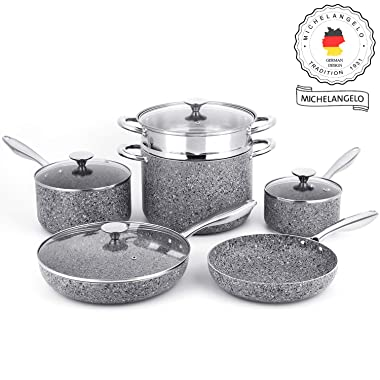 MICHELANGELO Stone Cookware Set 10 Piece, Ultra Nonstick Pots and Pans Set with Stone-Derived Coating, Stone Cookware Set Non