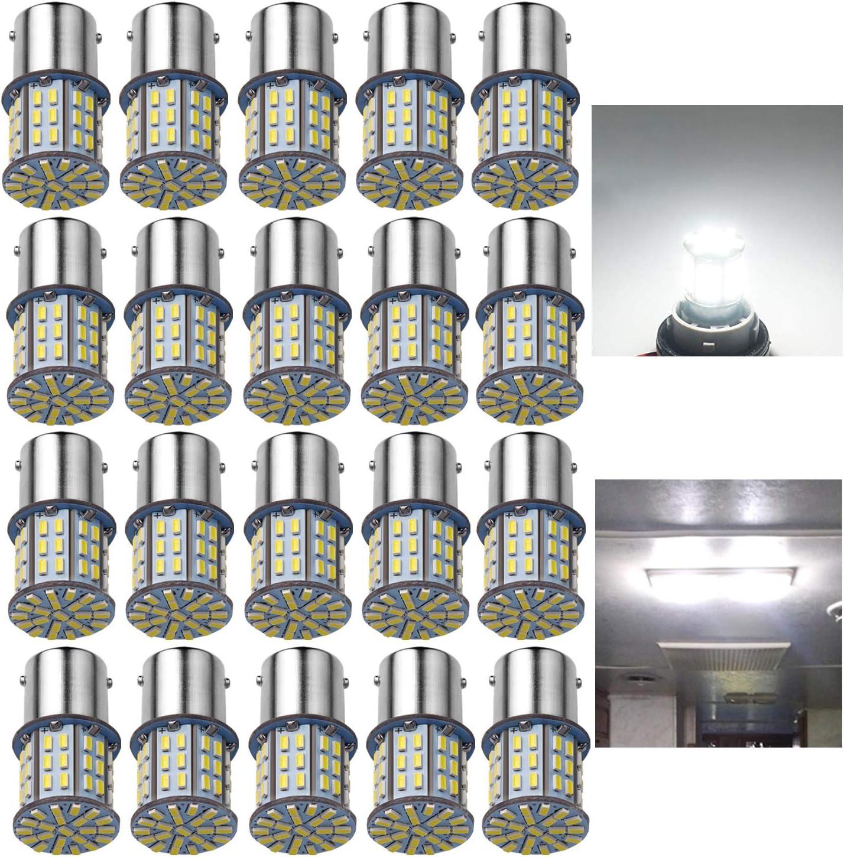 2x White Car 1156 Turn Signal Light Reverse Blub 106 SMD 3014 LED 1147 BA15S 12V