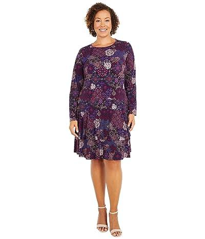 MICHAEL Michael Kors Plus Size Mega Patchwork Medallion Flounce Dress (Azalea) Women