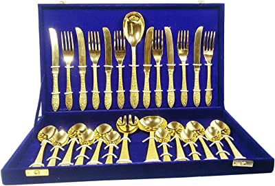 NAVRATAN-HANDICRAFT Indian Handmade Authentic Brass Cutlery Set Kitchen Dining Home Decorate PC-88