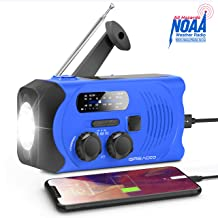 Emergency Weather Solar AM/FM/NOAA Crank Radio with Bright Flashlight, SOS Alarm and 2000mAh Power Bank for Emergency and Outdoor Activies (Blue)