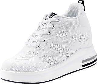 AONEGOLD® Femme Baskets Compensées Chaussure de Sport Marche Fitness Sneakers Basses Compensées 8 cm