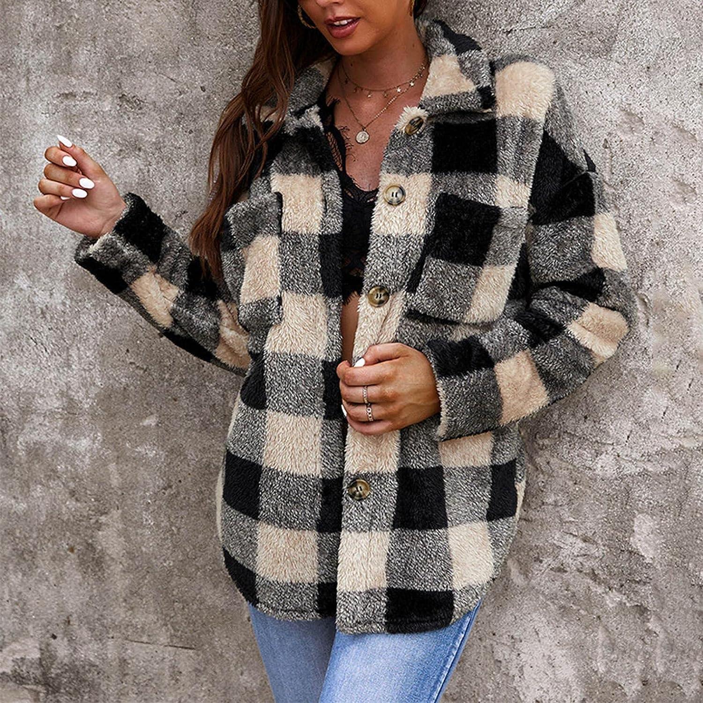 Fuzzy Fleece Jacket for Womens Casual Plaid Print Long Sleeve Button Down Faux Fur Winter Warm Sweatshirt Tops Coat