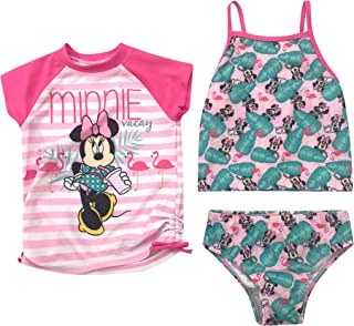 e076fda6f89b8 Toddler and Big Girl Authentic Character Rash Guard and Swimsuit Set UPF 50