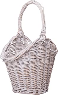 Red Co. White Willow Decorative Basket, Home Centerpiece Décor, Distressed White, Small, 11-inch