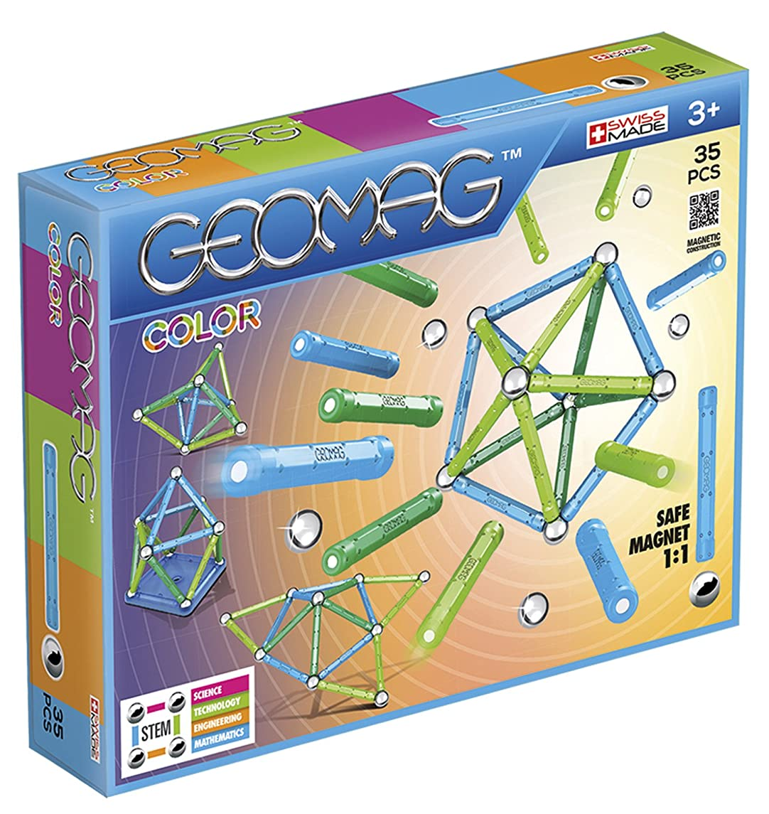 Geomag - COLOR - 35-Piece Magnetic Building Set, Certified STEM Construction Toy, Safe for Ages 3 and Up